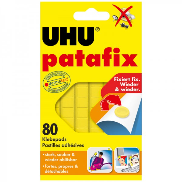 UHU patafix yellow, removable and reusable glue pads , 80 pcs