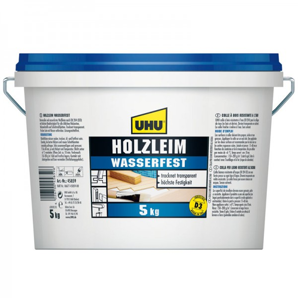 UHU WOOD GLUE water resistant EN 204 (D3), solvent free, Can 5kg