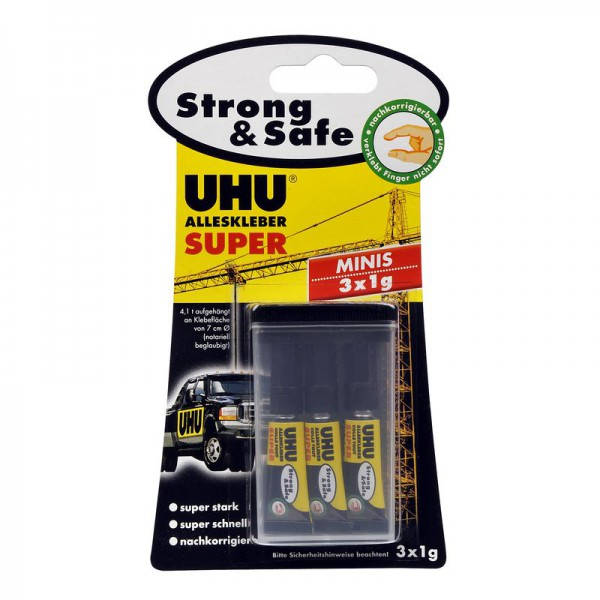 UHU All Purpose Adhesive SUPER Strong & Safe Minis 3x1g