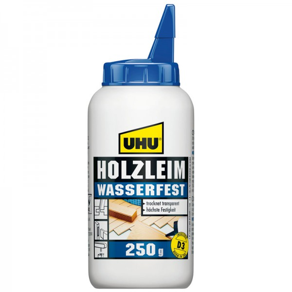 UHU WOOD GLUE water resistant EN 204 (D3), solvent free, bottle 250g