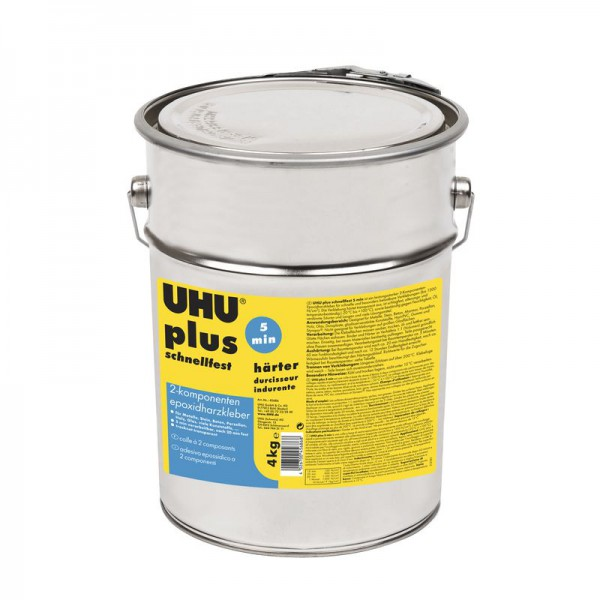 uhu plus epoxy quick set adhesive can hardener 4kg uhu plus adhesives 2 component adhesives. Black Bedroom Furniture Sets. Home Design Ideas