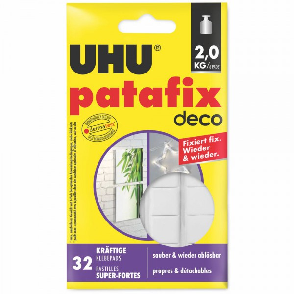 UHU patafix homedeco - strong removable and reusable glue pads , 32 pcs