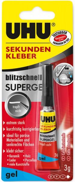 UHU SEKUNDENKLEBER blitzschnell SUPERGEL, Tube 3g