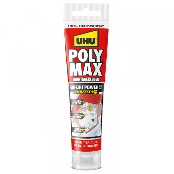 UHU POLY MAX 10 SEK SOFORT POWER TRANSPARENT, Tube 115g